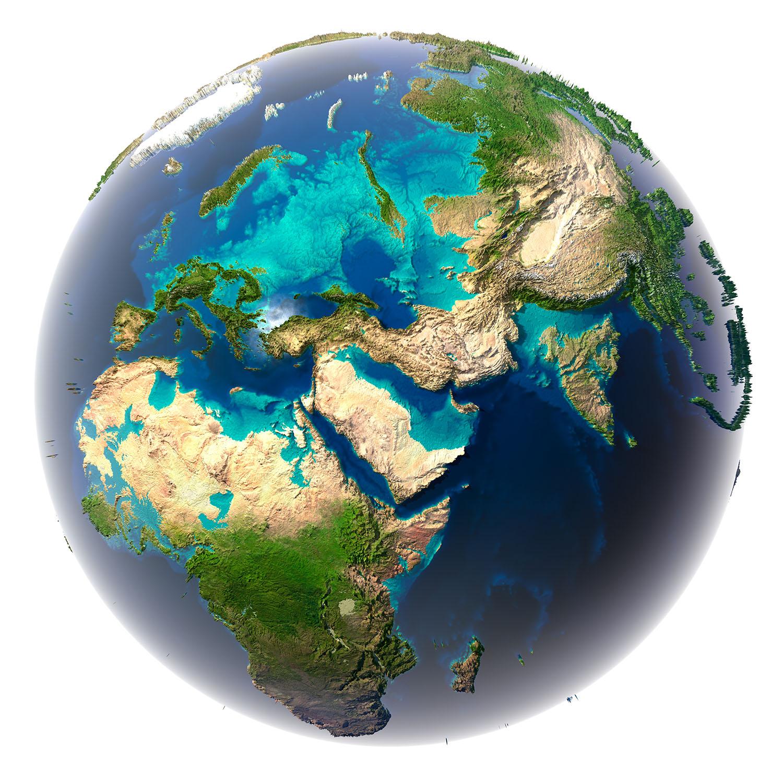 Художественное изображение Земли, где 80% площади занимают океаны
